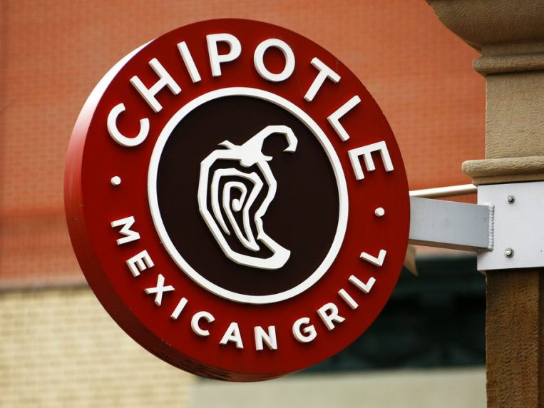 A Chipotle restaurant sign hangs in Pittsburgh.