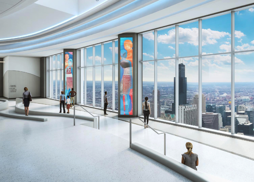Architectural rendering of Aon Center observation deck