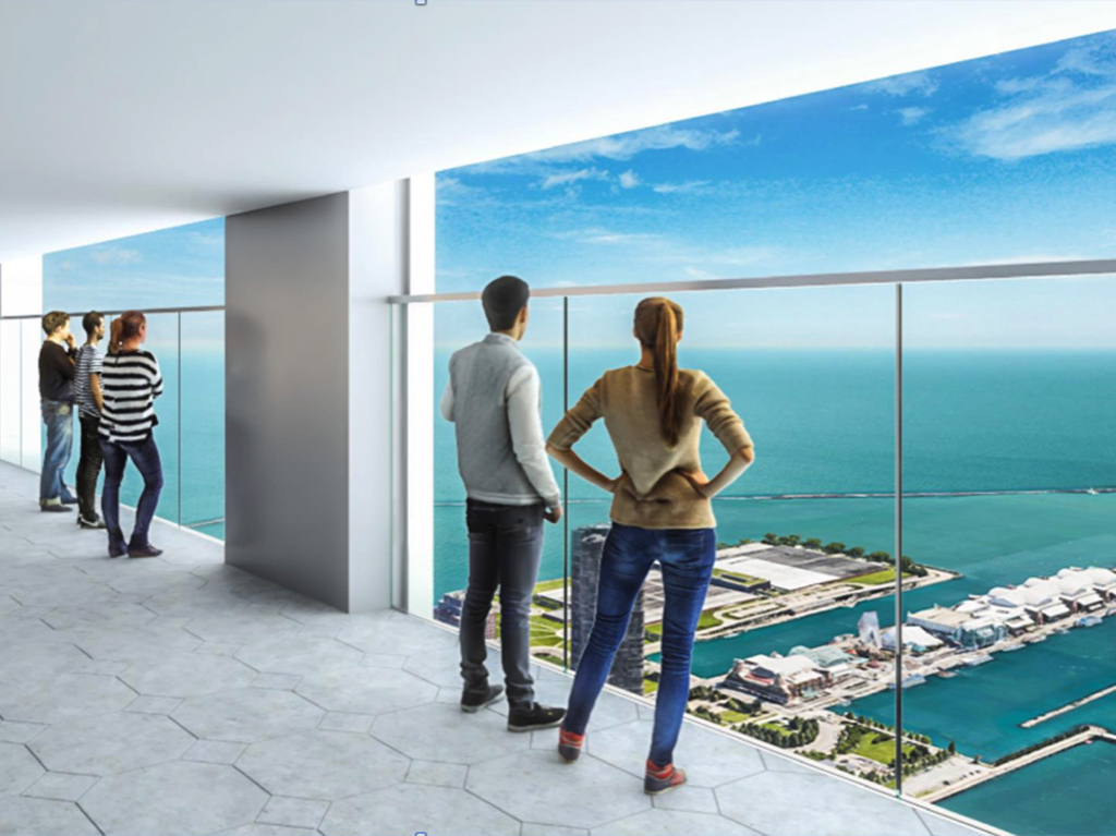 An architectural rendering of a proposed observation deck atop the Aon Center