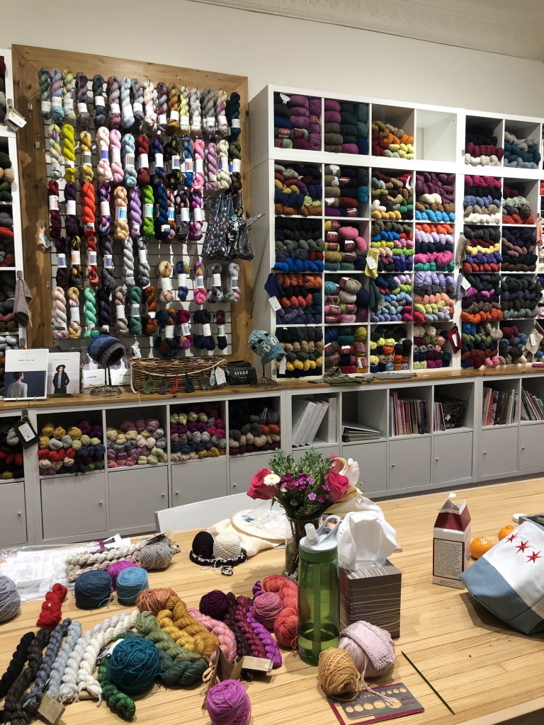 Natural fiber yarn varieties at Knit 1 boutique. | Ji Suk Yi for the Sun-Times