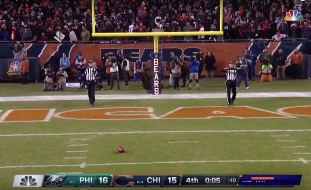 The ball came to rest near the three-yard line. | YouTube/NFL Highlights