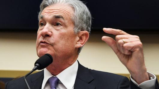 """Federal Reserve Chairman Jerome Powell testifies before a House Financial Services Committee hearing on the """"Semiannual Monetary Policy Report to Congress,"""" at the Rayburn House Office Building in Washington, U.S., July 18, 2018."""