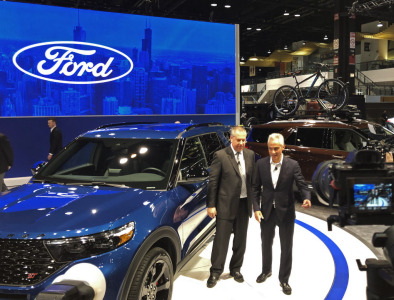 Mayor Rahm Emanuel with Joe Hinrichs, Ford's president of global operations, at the Chicago Auto Show on Thursday, Feb. 7, 2019.