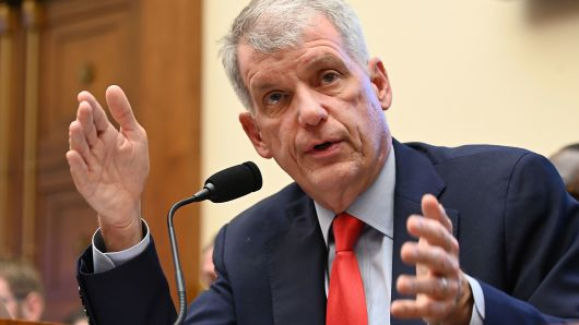 "Wells Fargo CEO Tim Sloan testifies before a House Financial Services Committee hearing titled: ""Holding Megabanks Accountable: An Examination of Wells Fargo's Pattern of Consumer Abuses"" in Washington, March 12, 2019."