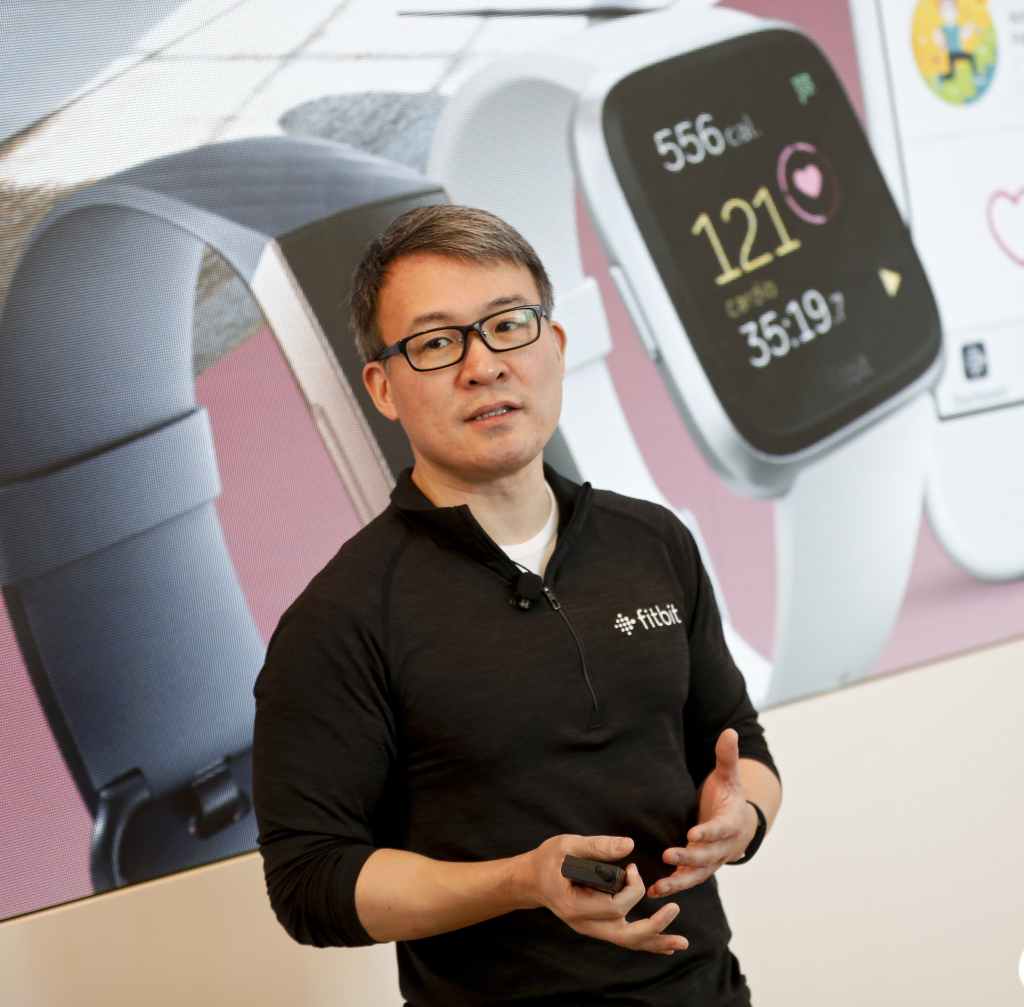 Fitbit CEO James Park announces Fitbit Versa Lite Edition, its newest addition to the Fitbit Versa smart watch family at a media event on Tuesday Mar. 5, 2019 in New York. | Brian Ach/AP Images for Fitbit