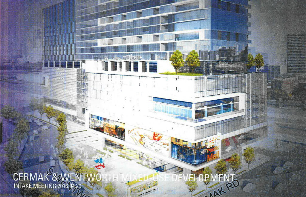 Artist's rendering of a 2016 proposal for a development at Cermak Road and Wentworth Avenue in Chinatown.