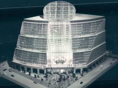 A model of the proposed State of Illinois Center, unveiled in 1980 by Gov. Thompson. The $89.8 million structure, which Thompson termed The first office building of the year 2000, will rise on the Loop block bounded by La Salle. Randolph. Clark and Lake. File Photo.