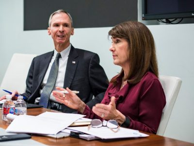U.S. Rep. Dan Lipinski, left, and Democratic primary challenger Marie Newman, right, in 2018. File Photo. | James Foster/For the Sun-Times