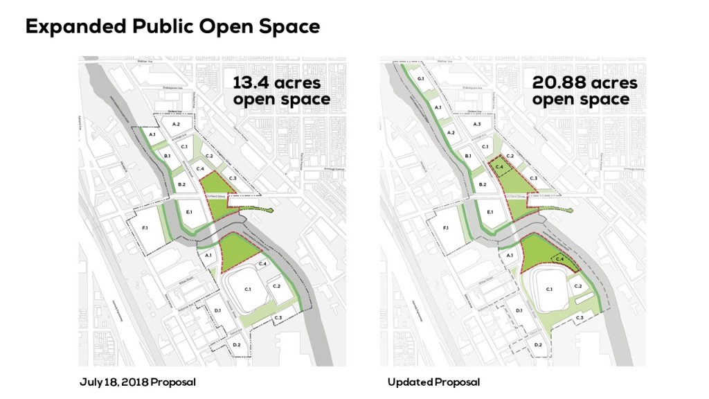 Details of open space in Lincoln Yards development