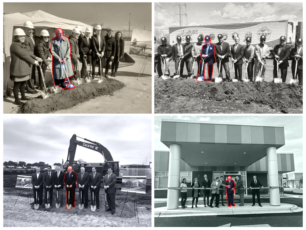Ald. Edward M. Burke's appearances at groundbreakings and a ribbon-cutting in the 14th Ward in 2018. Clockwise from top left: Esperanza Brighton Park health center at 4700 S. California Ave.; Amigos Foods facility at 51st Street and St. Louis Avenue; DaVita Dialysis Center at 4737 S. California Ave.; Last Mile Logistics Center at 3507 W. 51st St.