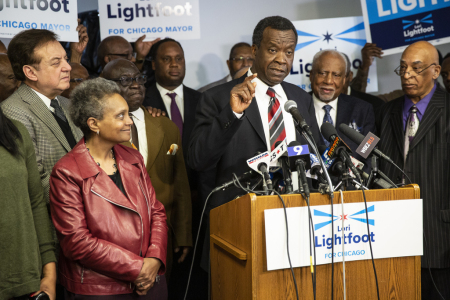 Willie Wilson endorses mayoral candidate Lori Lightfoot during a press conference at Chicago Baptist Institute International, Friday afternoon, March 8, 2019.