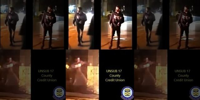 Investigators are seeking to identify the above man in relation to an arson that occurred at a credit union in Kenosha, Wisconsin on August 24 at 11:34 p.m.