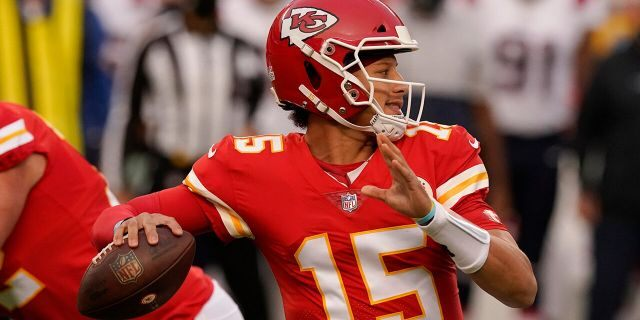 Kansas City Chiefs quarterback Patrick Mahomes throws a pass during the first half of an NFL football game against the New England Patriots, Monday, Oct. 5, 2020, in Kansas City. (AP Photo/Charlie Riedel)