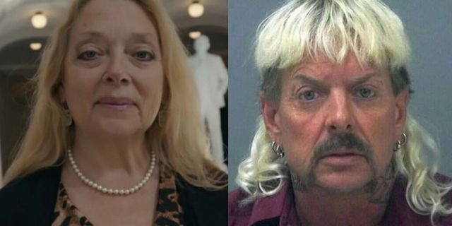 Carole Baskin (L) and Joe Exotic (R) from the Netflix documentary 'Tiger King.'