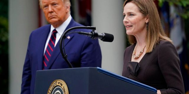 Judge Amy Coney Barrett speaks after President Trump announced Barrett as his nominee to the Supreme Court, in the Rose Garden at the White House, Saturday, Sept. 26, 2020, in Washington. (AP Photo/Alex Brandon)