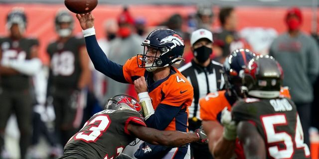 Denver Broncos quarterback Brett Rypien got his first win over the New York Jets. (AP Photo/Jack Dempsey)