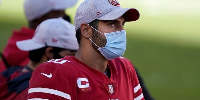 San Francisco 49ers quarterback Jimmy Garoppolo watches from the sideline during the second half of an NFL football game against the Miami Dolphins in Santa Clara, Calif., Sunday, Oct. 11, 2020. (AP Photo/Tony Avelar)