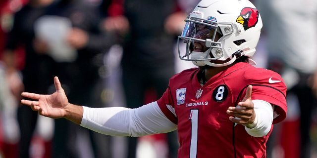 Arizona Cardinals quarterback Kyler Murray gestures during the first half of an NFL football game against the Carolina Panthers Sunday, Oct. 4, 2020, in Charlotte, N.C. (AP Photo/Brian Blanco)