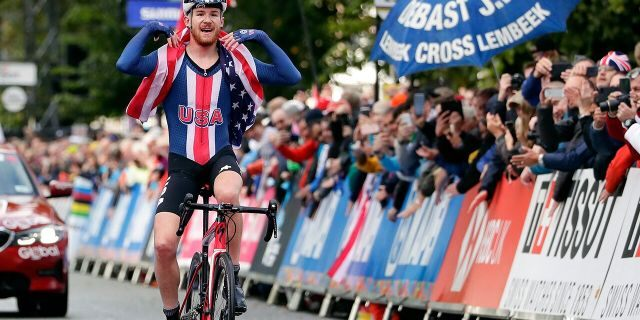 In this Thursday, Sept. 26, 2019 file photo, Quinn Simmons celebrates winning the men's junior event, at the road cycling World Championships in Harrogate, England. (AP Photo/Manu Fernandez)