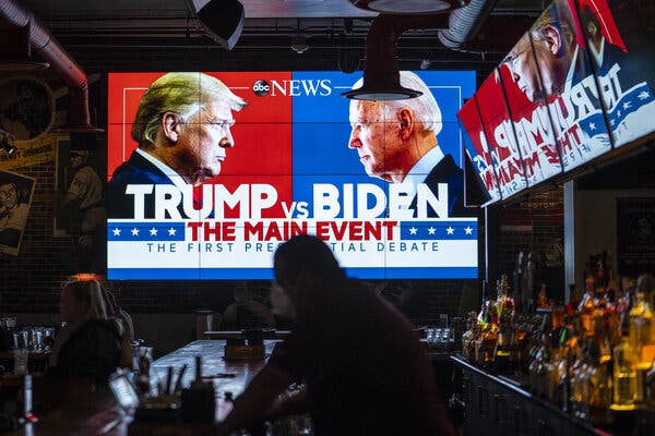 People watched the first debate between President Trump and Joseph R. Biden Jr. in a Washington bar. A second debate set for Thursday night was canceled after Mr. Trump refused to participate virtually