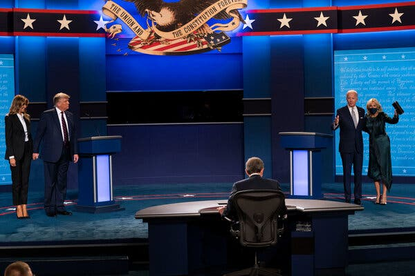 President Trump and Joseph R. Biden Jr. during the first presidential debate late last month.