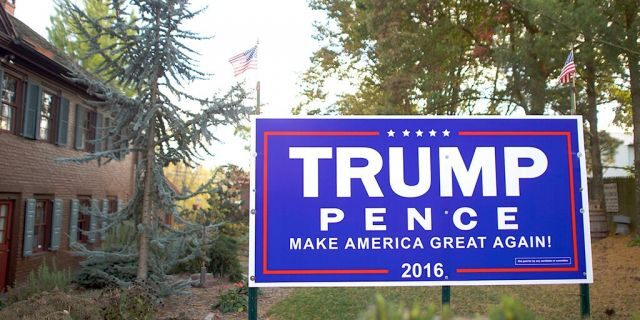 A Donald Trump yard sign is displayed outside a residence Oct. 22, 2016, in Abbottstown, Pa. (Mark Makela/Getty Images)