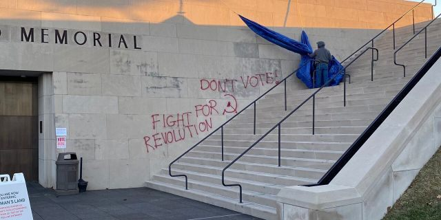 The National WWI Museum and Memorial was marked with anti-voting spray paint on the morning of Election Day.