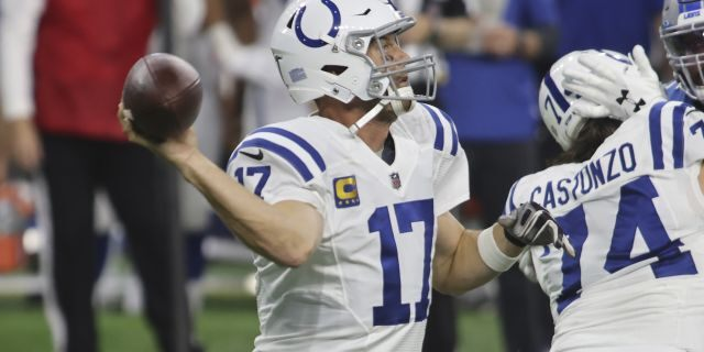 Indianapolis Colts quarterback Philip Rivers (17) throws during the first half of an NFL football game against the Detroit Lions, Sunday, Nov. 1, 2020, in Detroit. (AP Photo/Tony Ding)