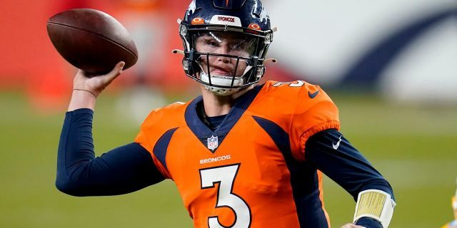 Denver Broncos quarterback Drew Lock (3) throws the game-tying touchdown pass against the Los Angeles Chargers during the second half of an NFL football game, Sunday, Nov. 1, 2020, in Denver. The Broncos won 31-30. (AP Photo/David Zalubowski)