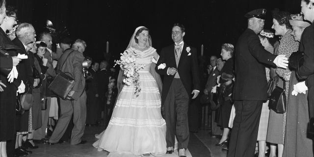 Robert Sargent Shriver Jr. of Chicago and Eunice Mary Kennedy on their wedding day at St. Patrick's Cathedral in 1953.