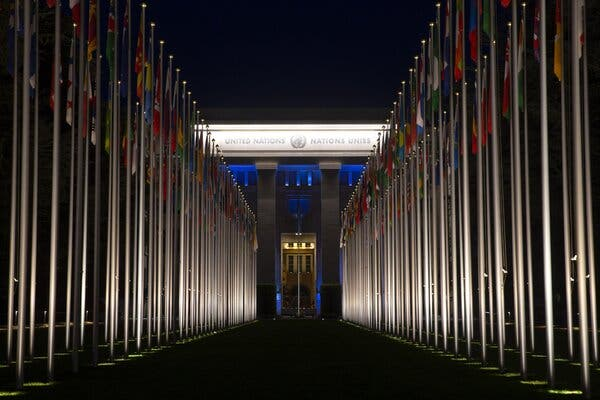 An outside view of the European headquarters of the United Nations in Geneva, Switzerland.