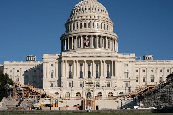 The inauguration stage was under construction in front of the Capitol last week.