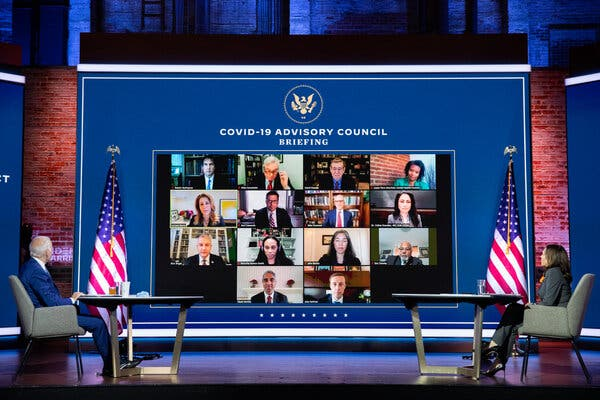President-elect Joseph R. Biden Jr. and Vice President-elect Kamala Harris met with their newly appointed Covid-19 advisory council in Wilmington, Del., on Monday.