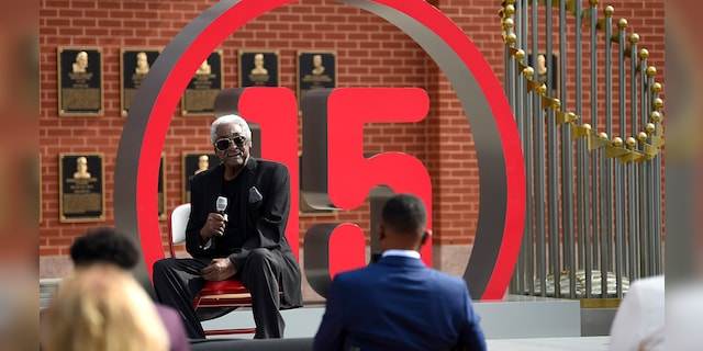 Former Philadelphia Phillies player Dick Allen speaks after the unveiling of his retired number prior to a baseball game between the Phillies and the Washington Nationals, Thursday, Sept. 3, 2020, in Philadelphia. (AP Photo/Derik Hamilton)