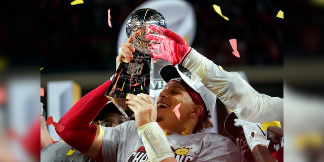 Kansas City Chiefs' Patrick Mahomes hoists the trophy after defeating the San Francisco 49ers in the NFL Super Bowl 54 football game Sunday, Feb. 2, 2020, in Miami Gardens, Fla. (AP Photo/David J. Phillip)