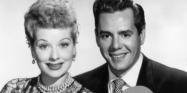 Circa 1955: Portrait of Lucille Ball (1911-1989) and her husband, Cuban-born actor and bandleader Desi Arnaz (1917-1986). (Photo by CBS Photo Archive/Getty Images)