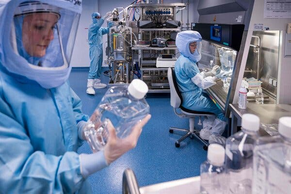 Employees tested the procedures for making the Covid-19 vaccine at a BioNTech facility in Marburg, Germany in March.