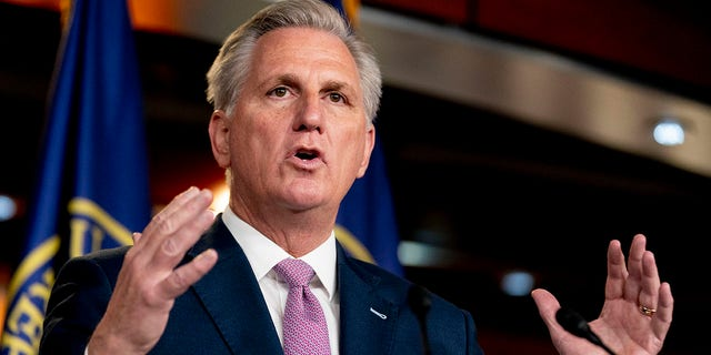 House Minority Leader Kevin McCarthy of California speaks during his weekly press briefing on Capitol Hill, Thursday, April 22, 2021, in Washington. McCarthy is opposed to a bipartisan bill that would create a commission to investigate the Jan. 6 attack on the Capitol by a mob of Trump supporters. (AP Photo/Andrew Harnik)
