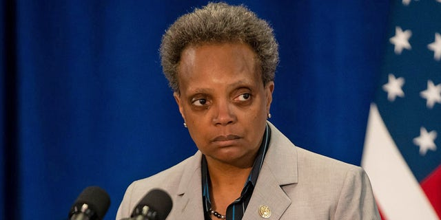 Chicago Mayor Lori Lightfoot speaks at City Hall on April 8, 2020, during the coronavirus pandemic. A local report said Lightfoot has quietly lobbied against efforts to end qualified immunity for police officers. (Brian Cassella/Chicago Tribune/Tribune News Service via Getty Images)