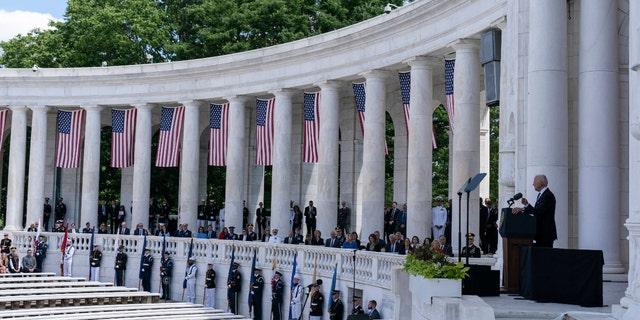 President Joe Biden speaks during the National Memorial Day Observance at the Memorial Amphitheater in Arlington National Cemetery, Monday, May 31, 2021, in Arlington, Va. (AP Photo/Alex Brandon)