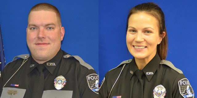 Elsmere Police Officers Brian Evans and Alexis Day.