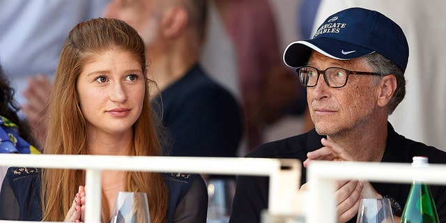 Bill Gates and his eldest daughter Jennifer Gates are pictured in 2018. Jennifer is a competitive equestrian. (Photo by fotopress/Getty Images)