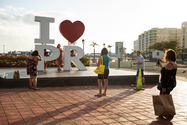 Posing for photos near the cruise docks in San Juan, P.R., in April.