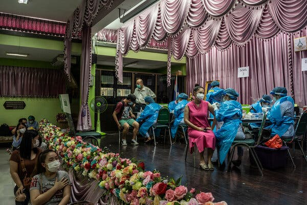 A vaccination center in Bangkok. The world's richest nations are vaccinating their populations at a much faster pace as the world's poorest struggle to make a dent.