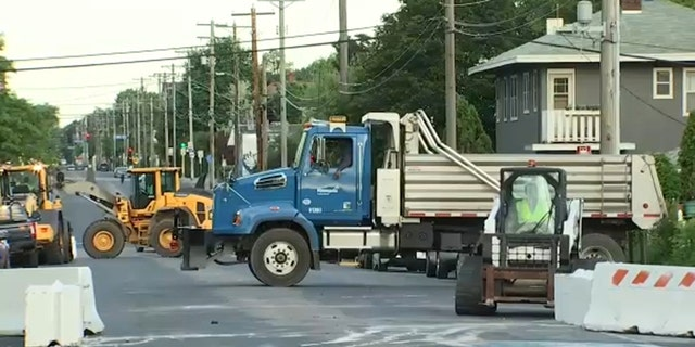 Heavy equipment seen near George Floyd Square early Thursday.