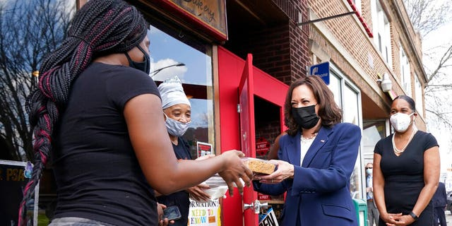Vice President Kamala Harris visiting Brown Sugar Bakery in Chicago on April 6. At right is Illinois Lt. Gov. Juliana Stratton.
