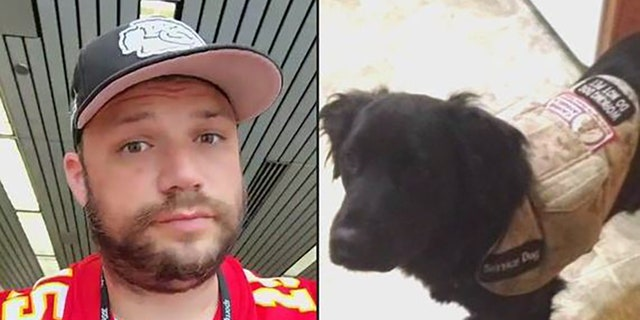 """The veteran, Ryan Foster, and his service dog """"Beauty"""""""