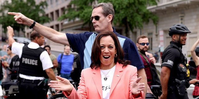Vice President Kamala Harris joining marchers for the Capital Pride Parade on June 12 in Washington, D.C.