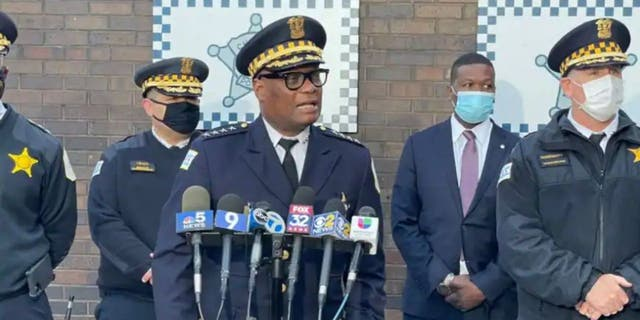 Chicago Police Superintendent David Brown addresses reporters about a suspect in the killing of a 7-year-old girl earlier this year, officials said.