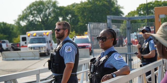 Officers with the Chicago Police Department are out on patrol in the city's lakefront area during Fourth of July weekend.